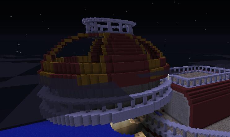 慢慢封闭半球形房顶,两种色彩需要格外小心,否则容易出错。