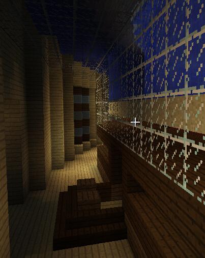 水之酒吧内走廊后方,一楼梯子出口,视线左侧是船尾方向,动力室入口。