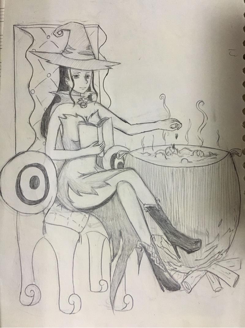 万圣节女巫简笔画彩色图片