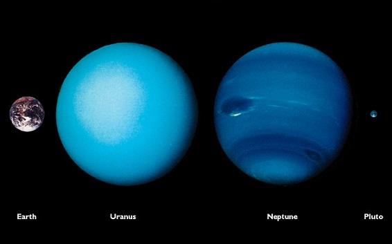 从左到右依次是地球 天王星 海王星 冥王星